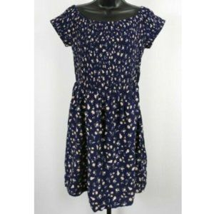 Mossimo Purple & Yellow Floral Short Sleeve Dress